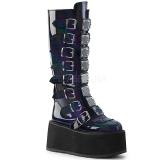 Nero Verniciata 9 cm DAMNED-318 stivali donna con fibbie e plateau alto