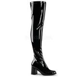 Nero Verniciato 8 cm GOGO-3000 Stivali overknee donna