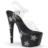 Nero pietre strass 18 cm ADORE-708STAR scarpe con tacchi da pole dance