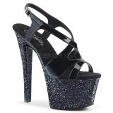 Nero scintillare 18 cm Pleaser SKY-330LG scarpe con tacchi da pole dance