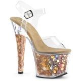 Oro 18 cm RADIANT-708BHG Ologramma plateau sandali donna con tacco