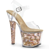 Oro 18 cm RADIANT-708HHG Ologramma plateau sandali donna con tacco