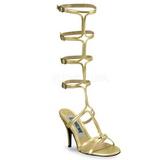 Oro 8 cm ROMAN-10 piatti sandali al ginocchio gladiatore da donna