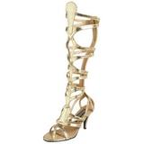 Oro 9 cm GODDESS-12 piatti sandali al ginocchio gladiatore da donna