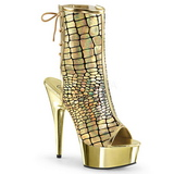 Oro Vernice 15 cm DELIGHT-1018HG stivaletti con plateau suola donna