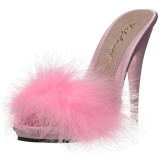 Pink 13 cm POISE-501F piume di marabu Mules Scarpe