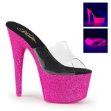 Pink 18 cm ADORE-701UVG neon platform mules womens