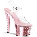 Pink 18 cm Pleaser STARDUST-708 High Heels Chrome Platform