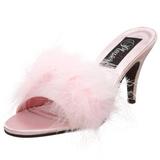 Pink 8 cm AMOUR-03 piume di marabu Mules Scarpe