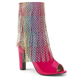 Pink Patent 10 cm QUEEN-100 big size ankle boots womens