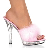 Pink Transparent 13 cm Fabulicious LIP-101-8 Platform High Mules