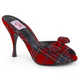 Plaid Pattern 10,5 cm MONROE-08 Pinup Mules Shoes with Bow Tie