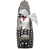 Punti Bianchi 14,5 cm Burlesque TEEZE-25 Nero Scarpe Décolleté con Tacco