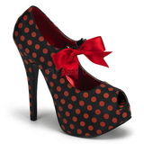Punti Rosso 14,5 cm Burlesque TEEZE-25 Nero Scarpe Décolleté con Tacco