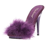 Purple 13 cm POISE-501F Marabou Feathers Mules Shoes