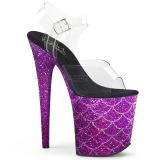 Purple 20 cm FLAMINGO-808MSLG glitter platform sandals shoes