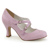 Purple 7,5 cm retro vintage FLAPPER-35 Pinup Pumps Shoes with Low Heels