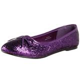 Purple STAR-16G glitter flat ballerinas womens shoes