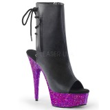 Purple glitter 15 cm Pleaser DELIGHT-1018LG Pole dancing ankle boots