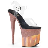 Rame 20 cm FLAMINGO-808-2HGM scintillare plateau sandali donna con tacco
