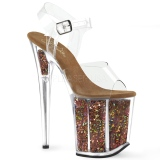 Rame 20 cm FLAMINGO-808GF sandali da cubista e spogliarellista scintillare