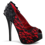 Raso Rosso 14,5 cm Burlesque TEEZE-19 Scarpe Décolleté Stiletto