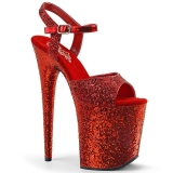 Red 20 cm FLAMINGO-810LG glitter platform high heels shoes