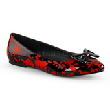 Red Black VAIL-20BL gothic ballerina shoes flat heels