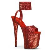 Red Glitter 20 cm Pleaser FLAMINGO-891LG High Heels Platform