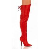 Red Leather 13 cm LEGEND-8899 Overknee Boots Flat Heels