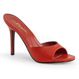 Red Leatherette 10 cm CLASSIQUE-01 big size mules shoes