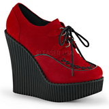 Red Leatherette CREEPER-302 creepers wedges women shoes