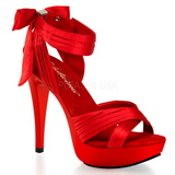 Red Satin 13 cm COCKTAIL-568 High Heeled Sandal Shoes