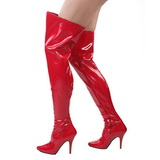 Red Shiny 13 cm SEDUCE-3000 Overknee Boots Flat Heels