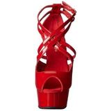 Red Shiny 15 cm Pleaser DELIGHT-612 Platform Pumps