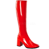 Red Shiny 7,5 cm GOGO-300 High Heeled Womens Boots for Men
