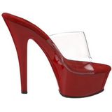 Red Transparent 15,5 cm KISS-201 Platform High Mules
