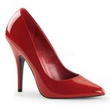 Red Varnished 13 cm SEDUCE-420 pointed toe pumps high heels