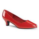 Red Varnished 5 cm FAB-420W Women Pumps Shoes Flat Heels