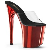Red chrome platform 20 cm FLAMINGO-801 pleaser high heel mules