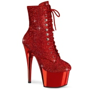 Red rhinestones 18 cm ADORE-1020CHRS pleaser high heels ankle boots