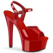 Red sandals platform 15 cm GLEAM-609 pleaser high heels sandals