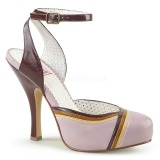 Rosa 11,5 cm retro vintage CUTIEPIE-01 Pinup sandali con plateau nascosto