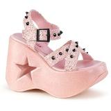 Rosa 13 cm Demonia DYNAMITE-02 scarpe lolita sandali con zeppa