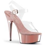 Rosa 15 cm Pleaser DELIGHT-608 scarpe da cubista e spogliarellista cromo