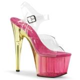 Rosa 18 cm ADORE-708MCT Acrilico plateau sandali donna con tacco