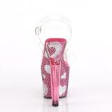 Rosa 18 cm LOVESICK-708HEART Scarpe da donna con pietre scintillanti