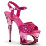 Rosa 18 cm MOON-710GT scintillare plateau sandali donna con tacco