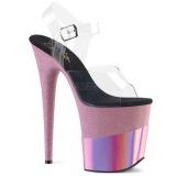 Rosa 20 cm FLAMINGO-808-2HGM scintillare plateau sandali donna con tacco