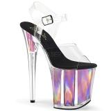 Rosa 20 cm FLAMINGO-808HGI Ologramma plateau sandali donna con tacco